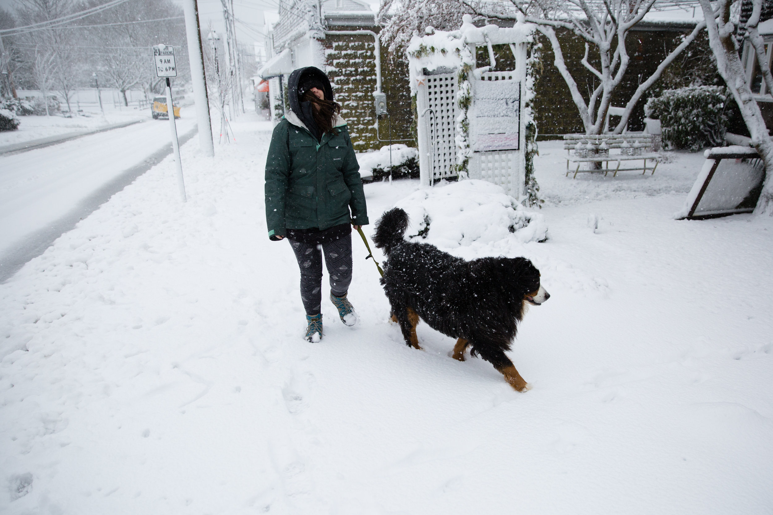 My wife and our dog, Natty, braving the storm in Padanaram Village.