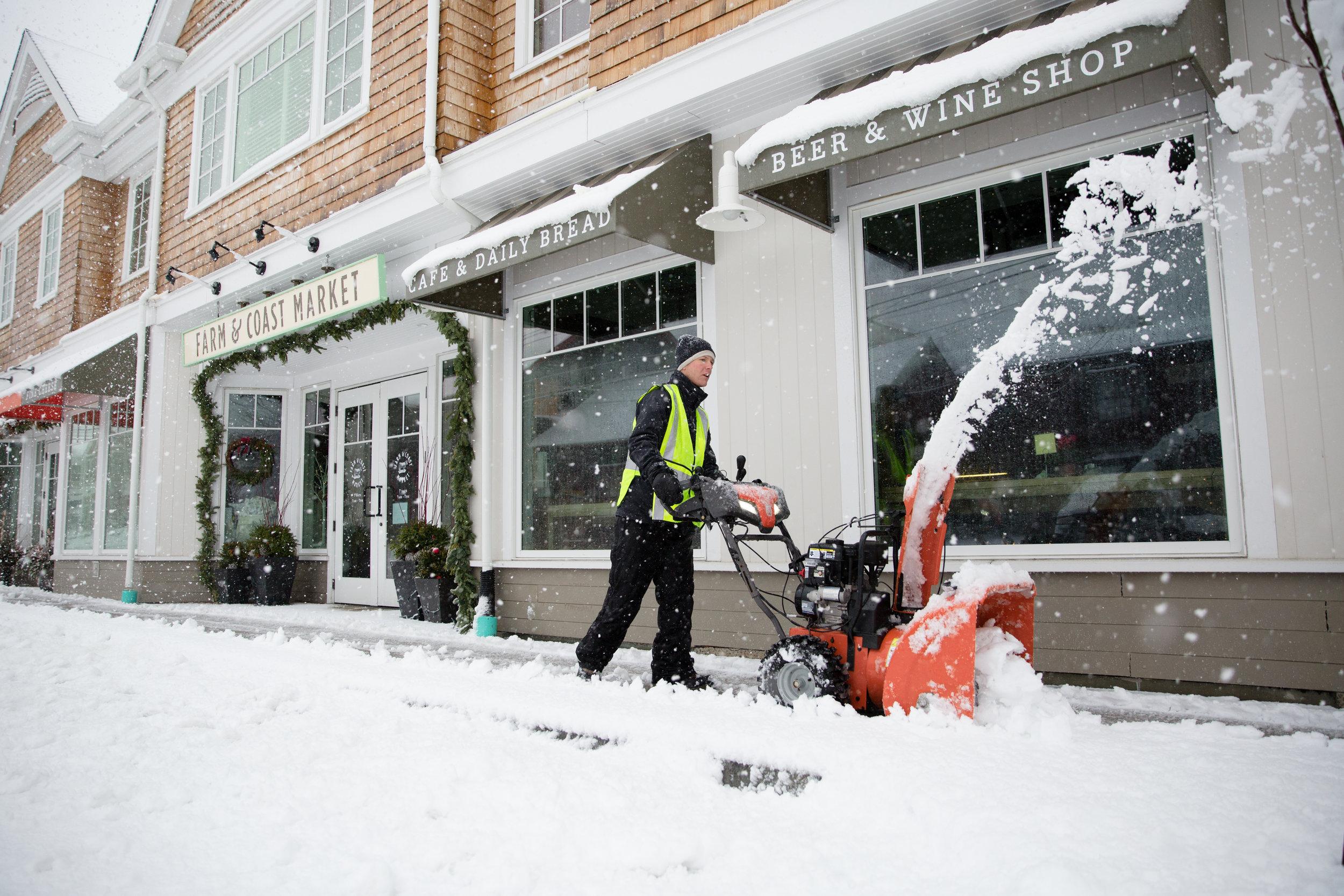 Ian Woodcock (Village Lawn Company, LLC.) moving that snow. - Padanaram Village