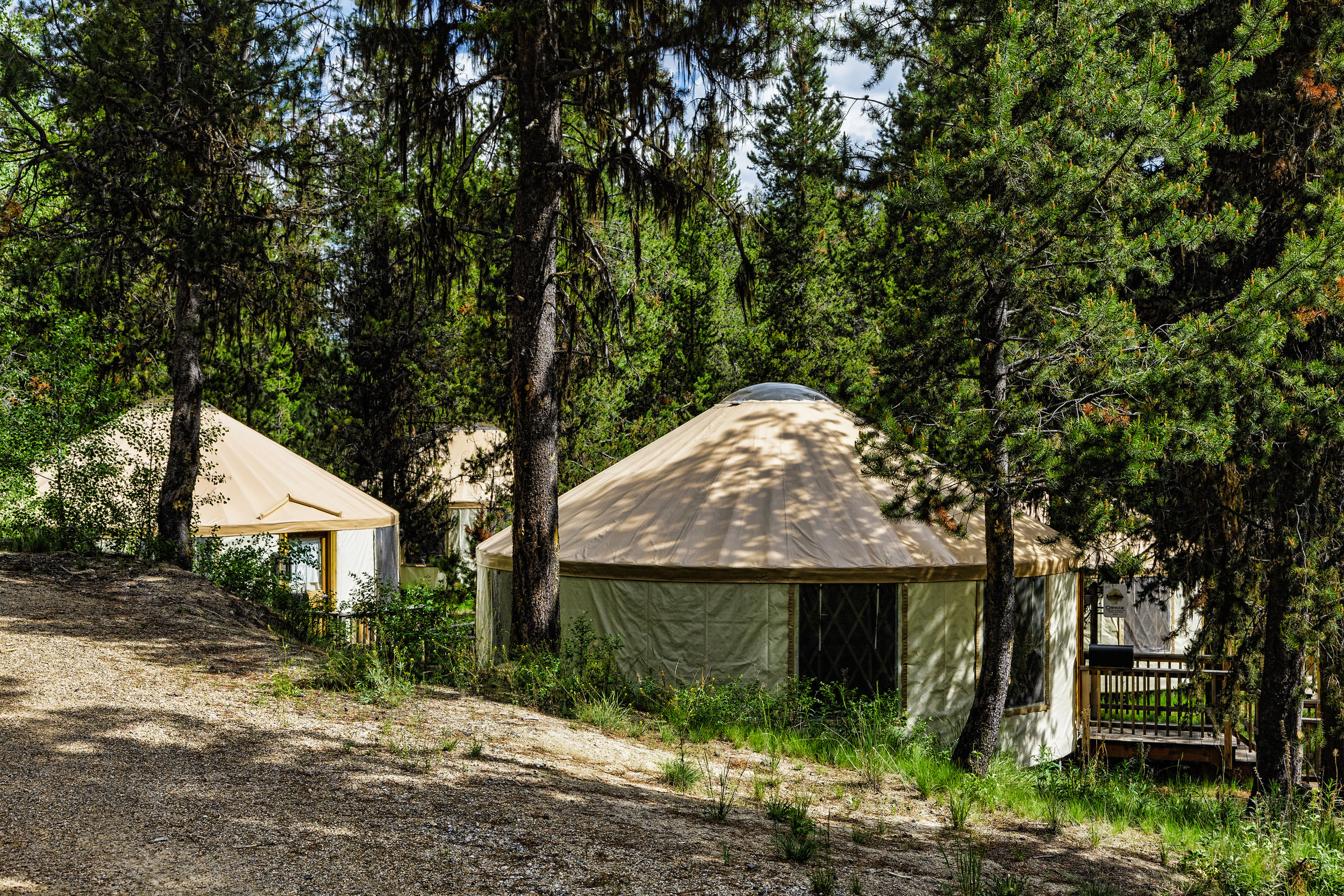 YURTS - A total of seven yurts, each 27' in diameter and approximately 575 square feet in size have been built at the Y Camp. Each yurt has electrical lighting and heat and 6 bunk beds. Pads for additional yurts have been prepared for future installation.