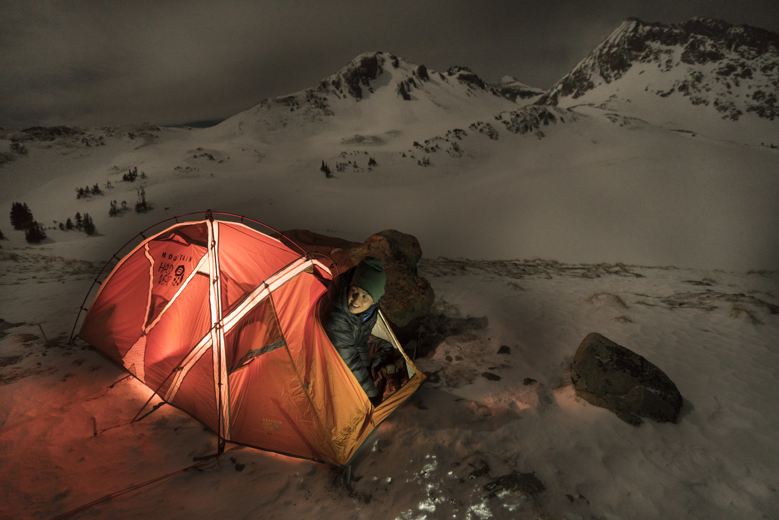 Winter camping in Colorado's high country.  American Lakes Trail, Colorado