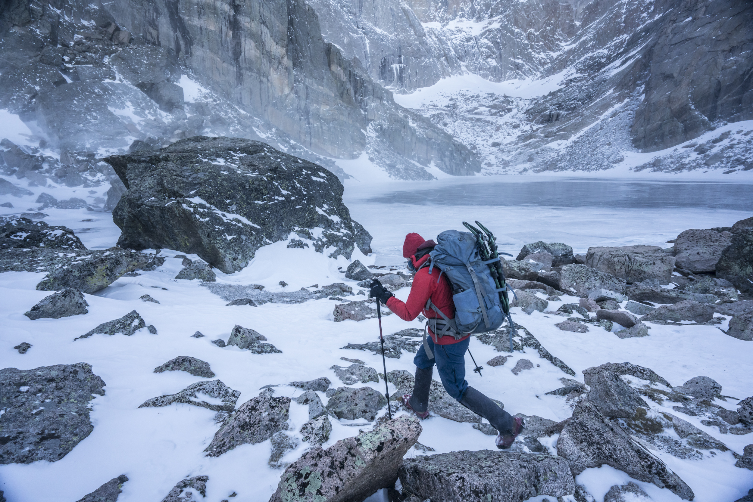 Appreciating the calm complexities of cold, a backpacker explores the harsh winter wilderness that is Rocky Mountain National Park's Chasm Lake.  Chasm Lake, Colorado