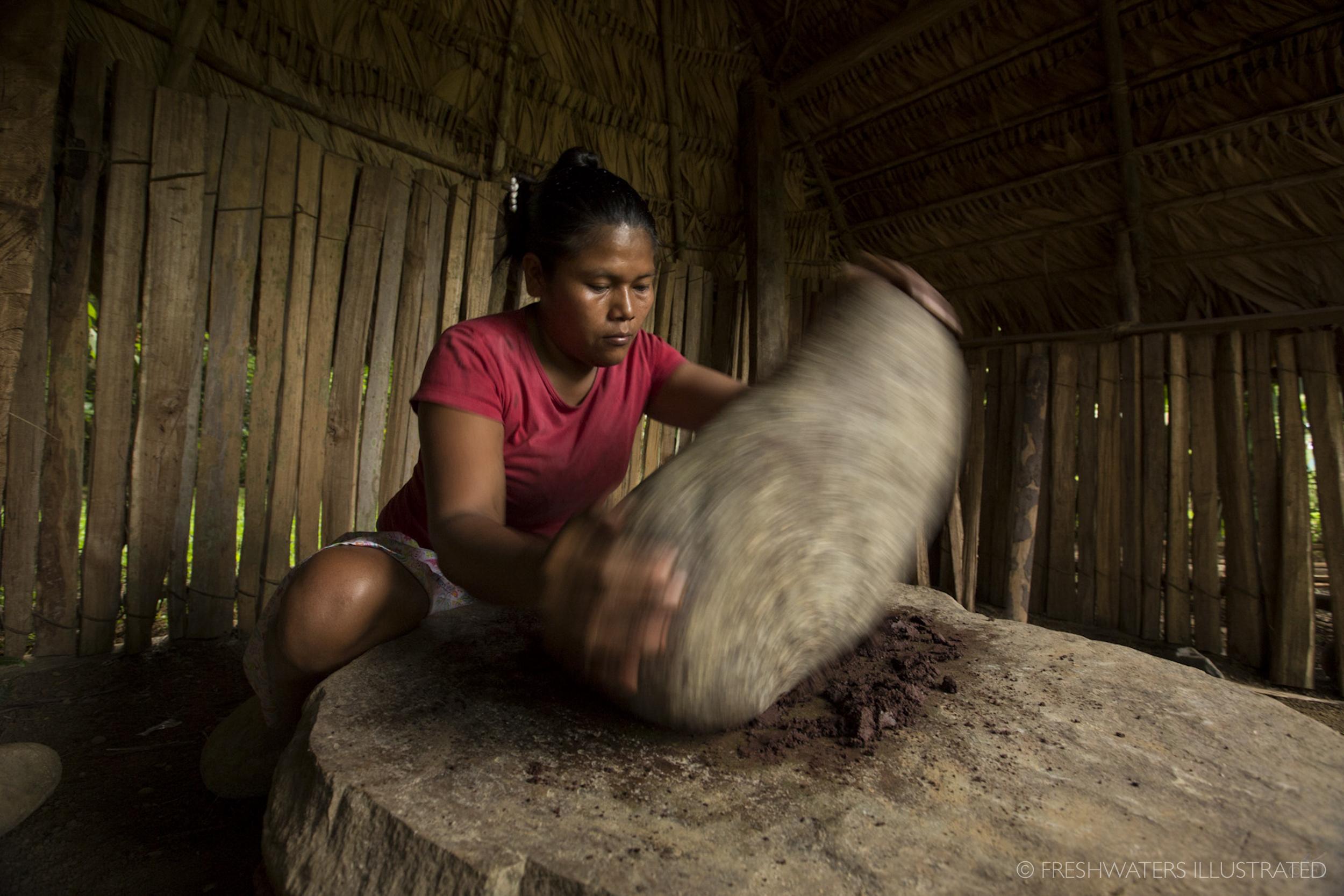Crushing Cocoa beans Kachabri, Costa Rica