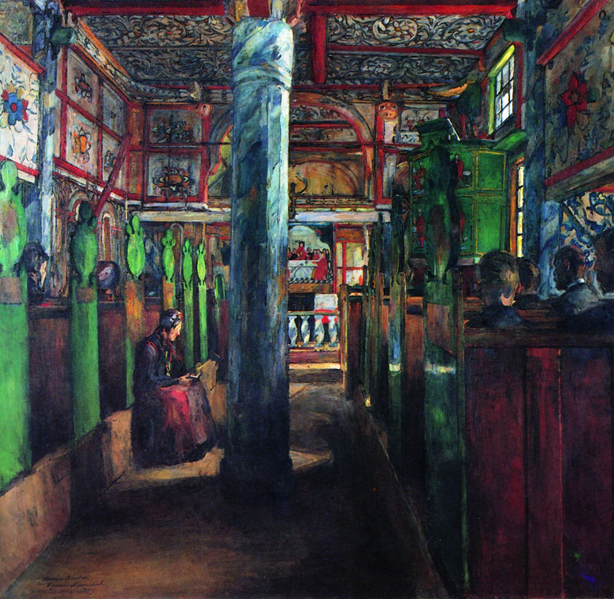 «Interiør fra Uvdal kirke» av Harriet Backer
