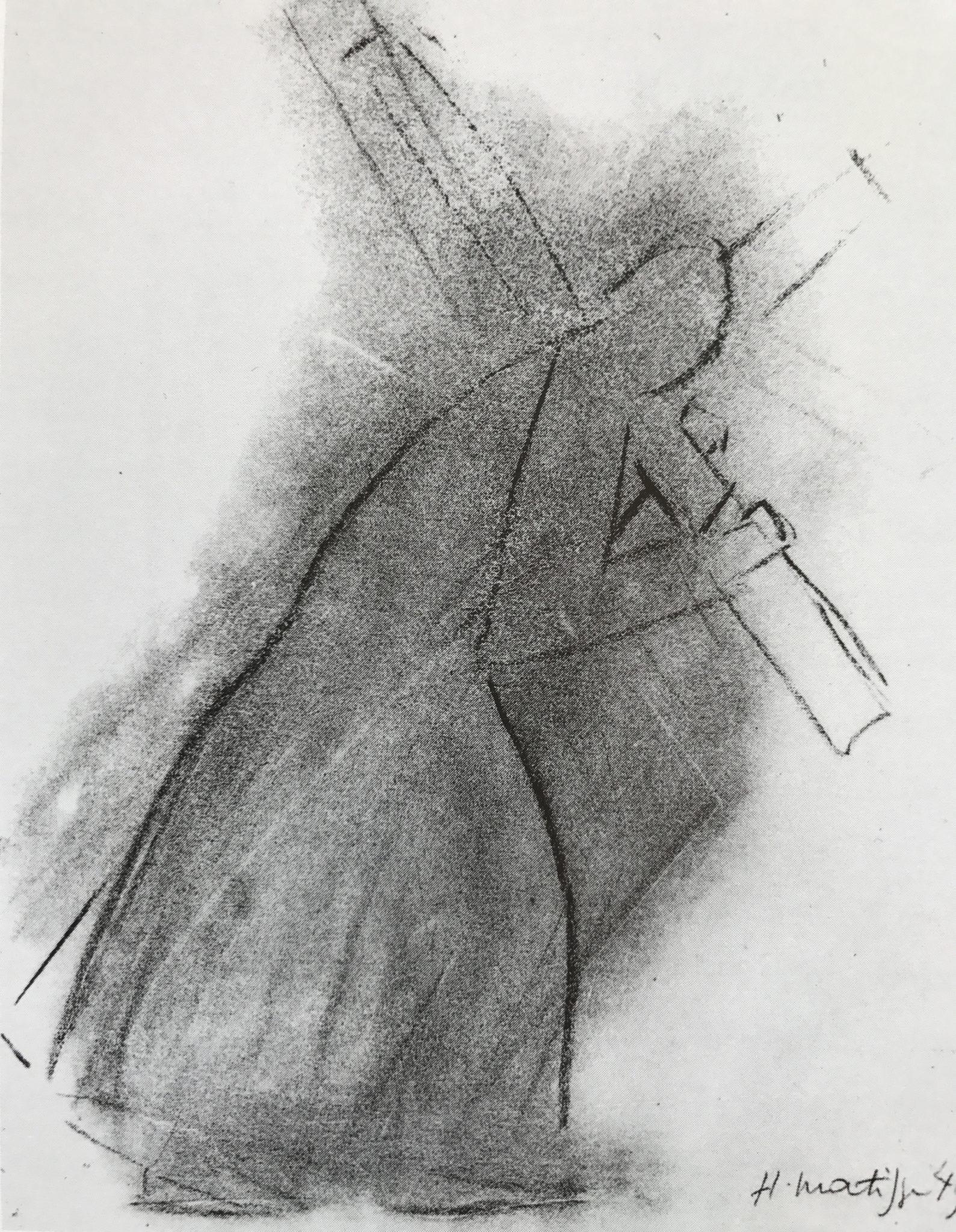 «Jesus med korset». Studie til 2. stasjon på korsets vei – veggutsmykning til kapellet i Vence. Skisse Henri Matisse, 1949. Kull på papir.