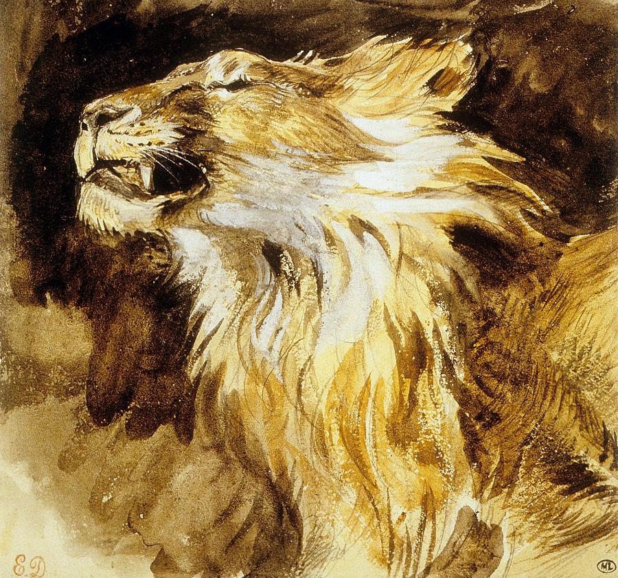 Brølende løve  av Eugène Delacroix