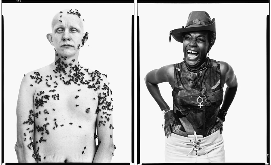 Richard Avedon:  Ronald Fischer, beekeeper, Davis, California, May 9, 1981  og  Florynce Kennedy, civil rights lawyer, New York City, August 1, 1969 . © The Richard Avedon Foundation