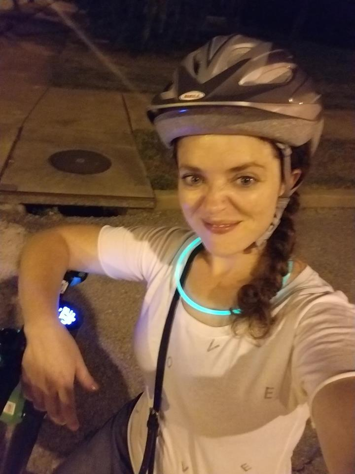 """Annie on bike tour for """"National Night Out"""""""