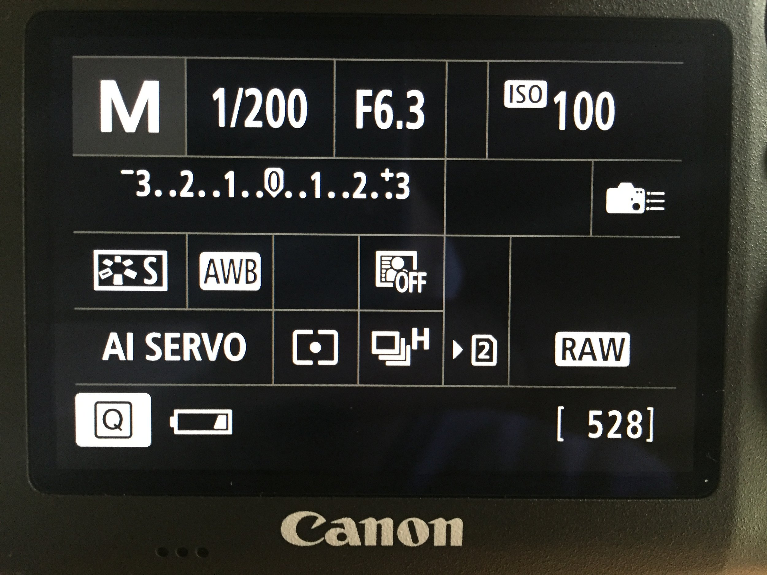 Quick control screen for shooting functions of a Canon camera. It contains the most important settings you need access to during a shoot.