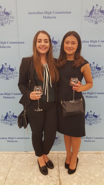 Hannah is pictured above (left) with Anne Thomson at the Australian High Commission
