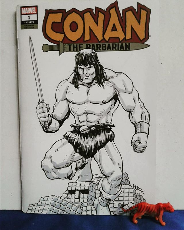 Conan the barbarian and a disassembled M.U.S.C.L.E man for @cody_james_lockwood from Youngstown Comic Con