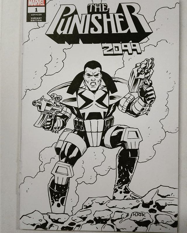 Vintage Jake Gallows sketch cover commission in honor of the announcement that I'll be drawing a new Punisher 2099 one-shot written by @zacbethompson and @lon_monster out in November. I guess I need to update my Build Your Own Punisher menu to include the new design.