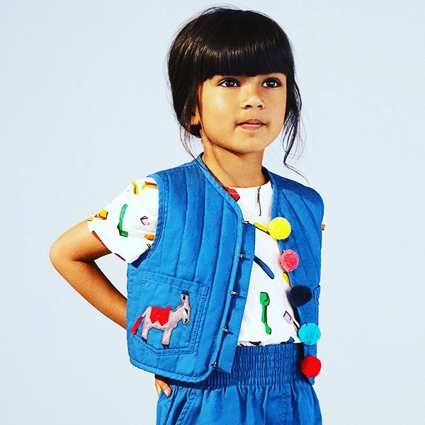 STELLA ⭐️💙⭐️ SS18 collection inspired by summers by the English seaside #donkeys #pompoms @stellakids . Shop this donkey gilet by linking in bio 👆🏼 #stellakids #kidswesr #kidsfashion #fashionforkids