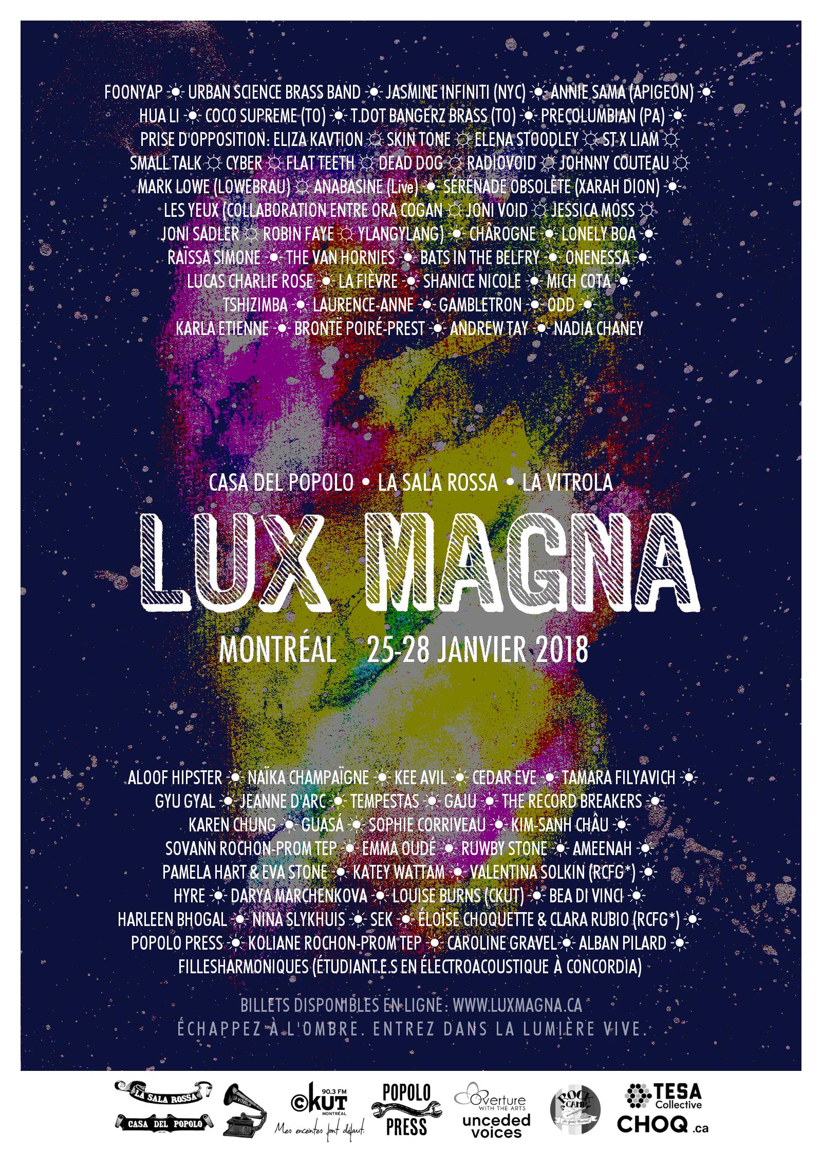 L'affiche officielle du festival Lux Magna 2018, conçue par    Mags    et    Popolo Press