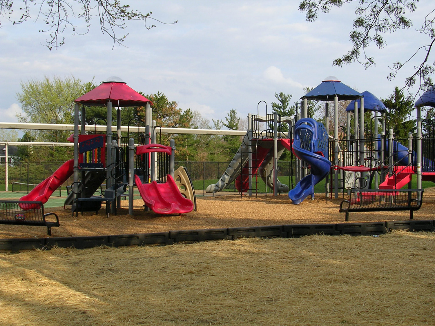 A playground is located in the recreation area of the association, near the pool and clubhouse. Many slides and climbing features give kids a great place to play.