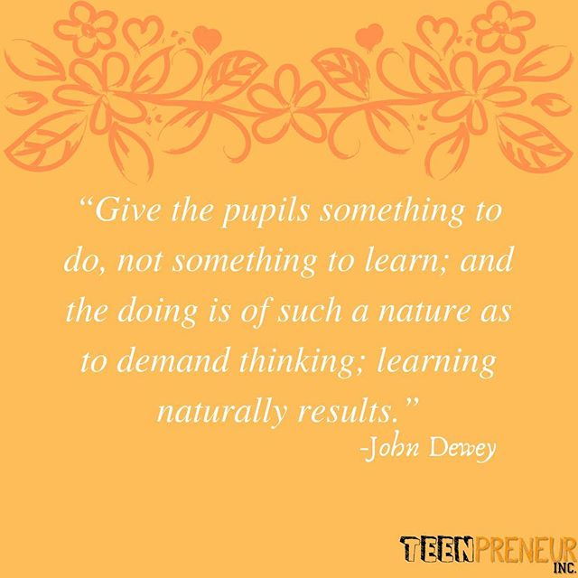 Experiential learning = ✅ Join our August program, an opportunity to become fully immersed into the field of entrepreneurship through experiential learning!  #teenpreneur #entrepreneur #business #motivation #teenpreneurinc #innovation #sharktank #johndewey #entrepreneurship