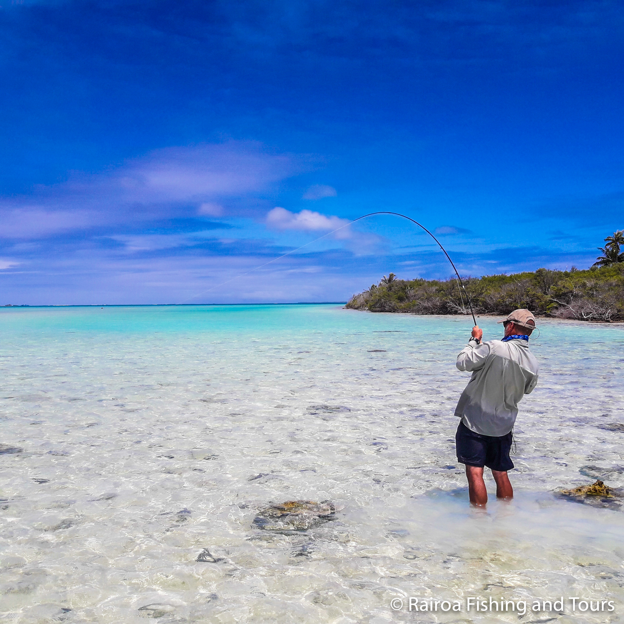 Fly fishing for bonefish Rangiroa Blue Lagoon