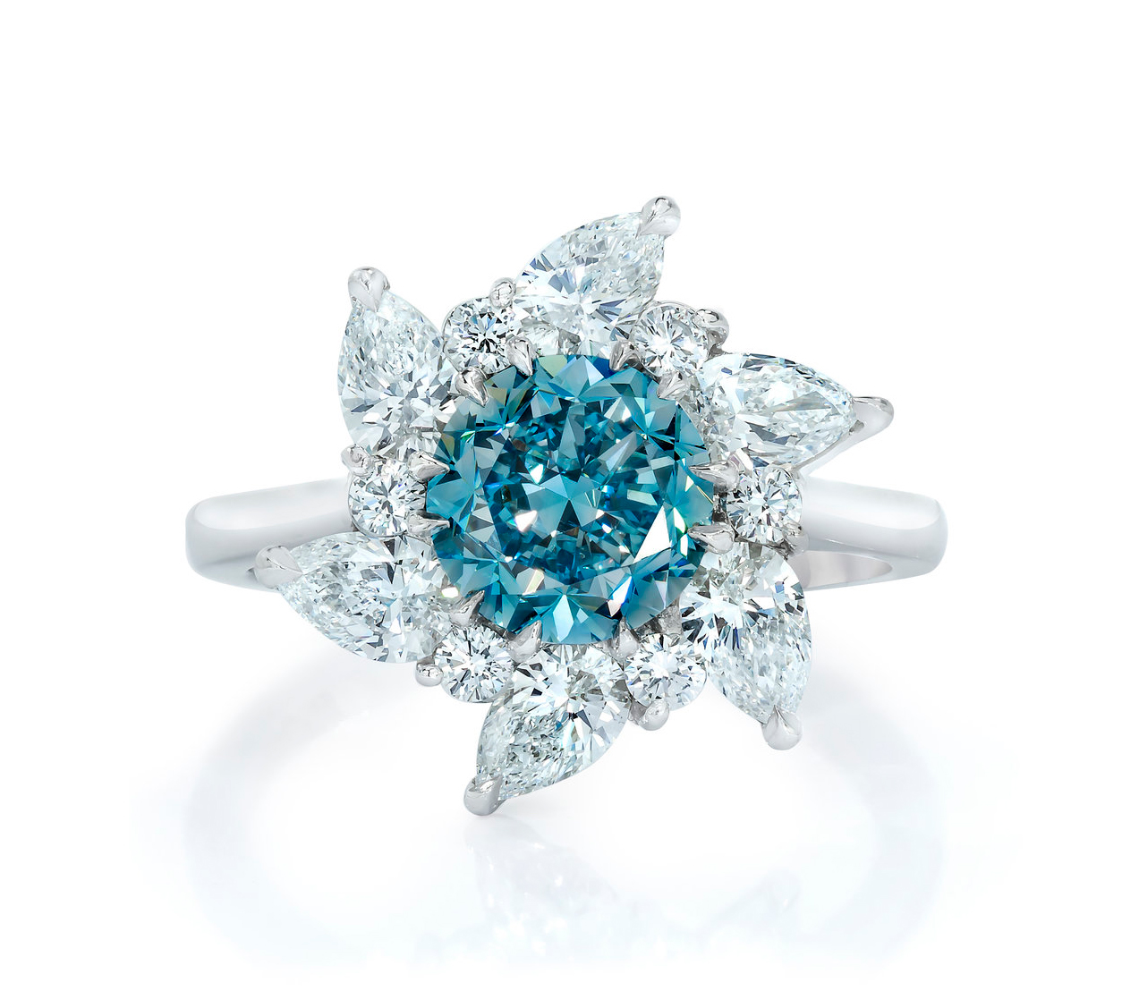 The Light of Erasmus Ring - An extremely rare 1.63-carat Fancy Vivid Greenish-Blue round diamond set in a platinum designer floral setting. This jewel conjures radiance and the natural beauty of the Caribbean. It also has a letter of rarity from the GIA.