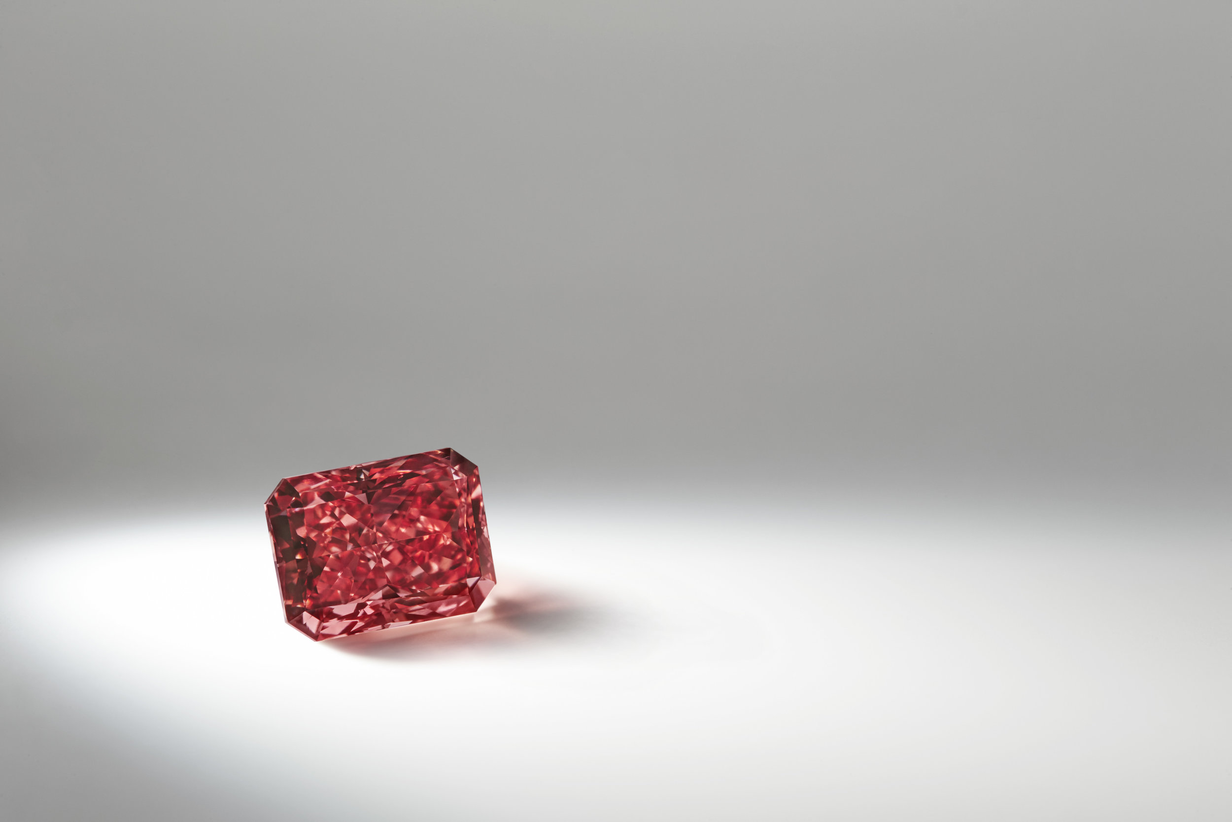 The Argyle Everglow - 2.11 carat polished radiant cut diamond, known as The Argyle Everglow™