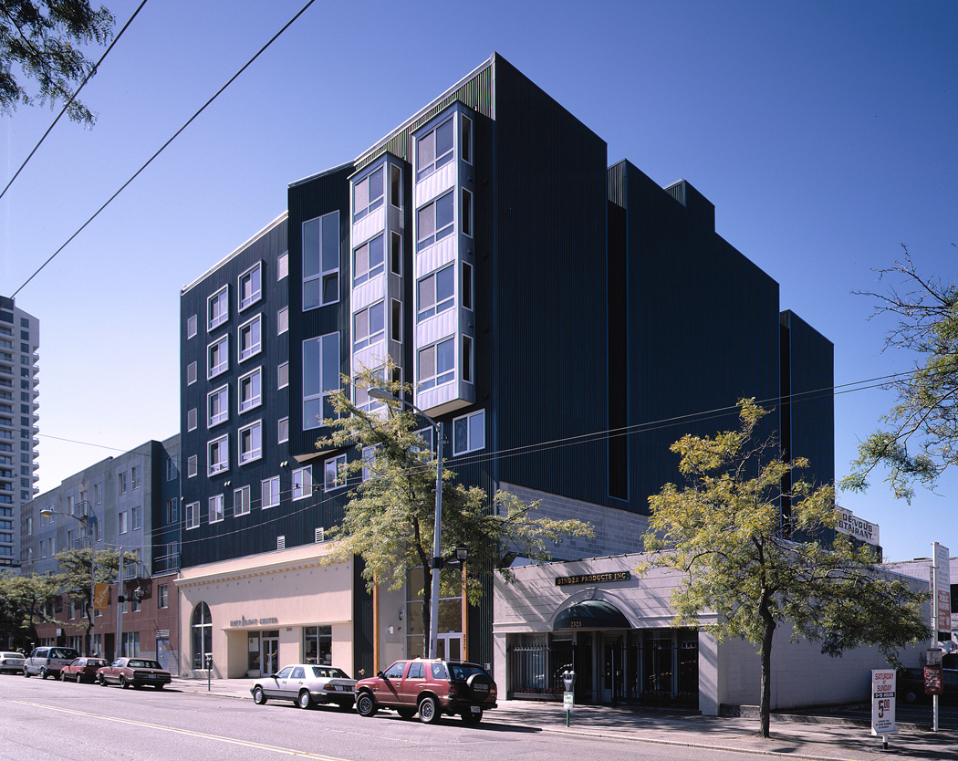 - Client: Catholic Housing ServicesLocation: Seattle, WashingtonCompletion: 2003Project Size: 50 Units + Common Areas. Existing Building = 6,266 SF. New Construction = 32,206 SF