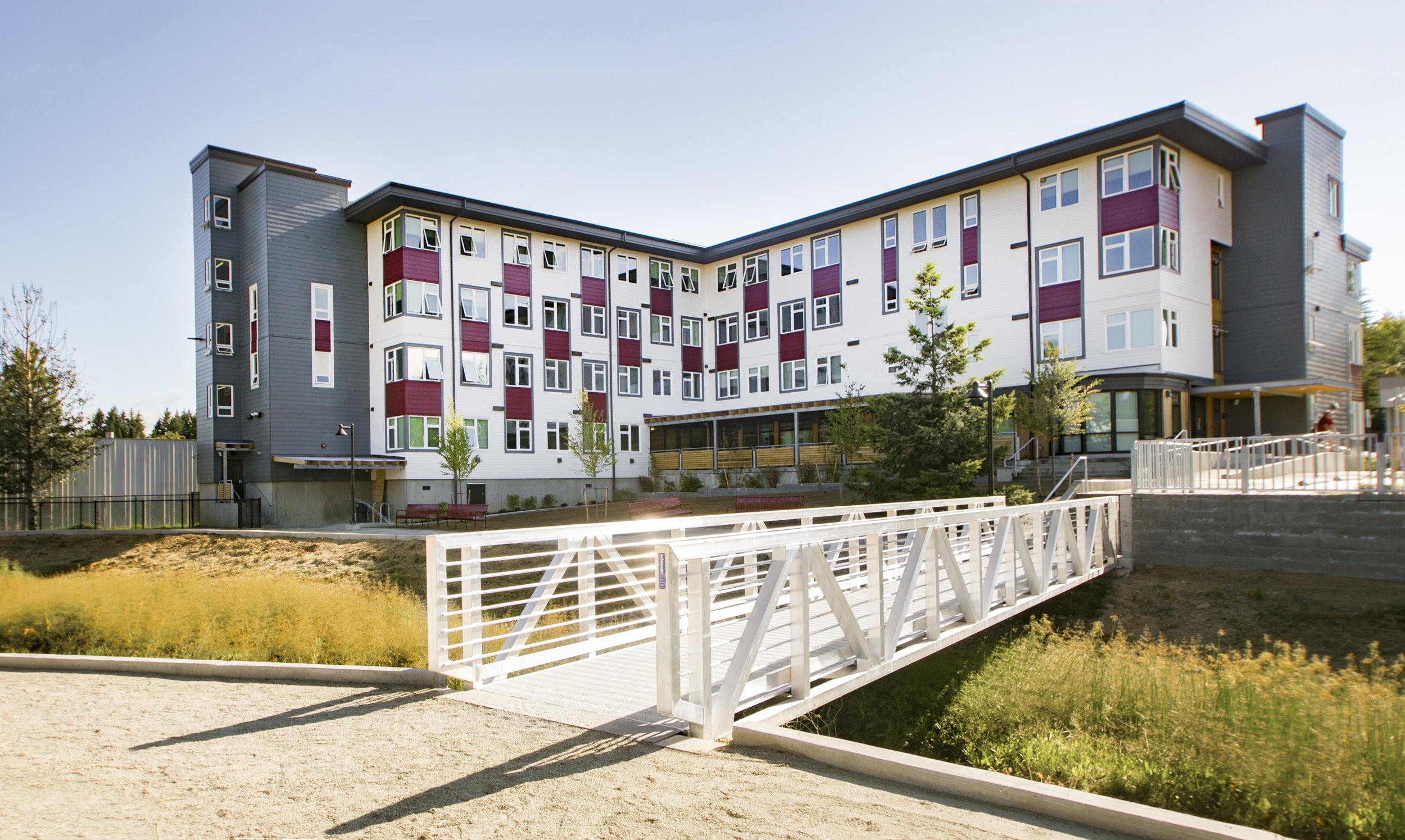 - Client: Catholic Community Services of Western Washington, Catholic Housing ServicesLocation: Olympia, WashingtonCompletion: 2017Project Size: 50 Studio Apartments + Common Areas + Outdoor Space