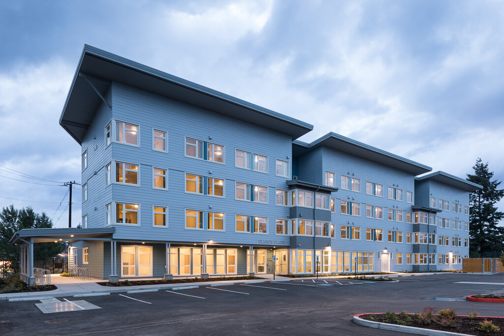 - Client: Catholic Housing Services of Western WashingtonLocation: Everett, WashingtonCompletion: 2019Project Size: 65 Units + Common areas + Offices 41,447 SF