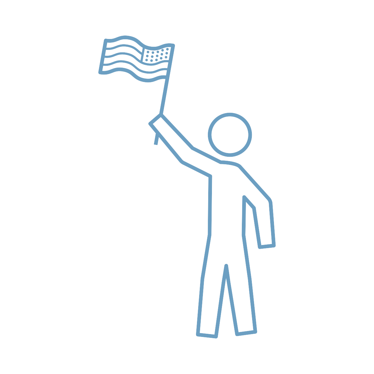 Outline of person holding an American flag