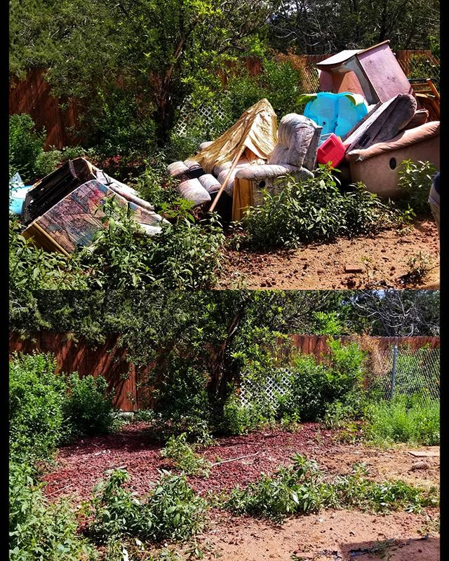 Another Junk Free Home.  #santafe #backyard #cleanuptime #greenery #clutter #freedom
