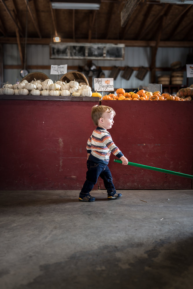 toddler sweeping up the store during a trip to the pumpkin patch.jpg
