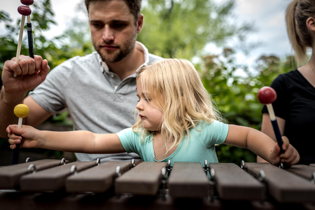 xylophone fun during a fun and casual photo session with Dana Jacobs Photography.