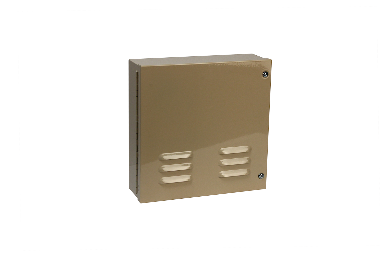 "#1000 Series Bell Box / Hinged   Overall dimensions 11 x 11 x 3 1/2"" 20 ga electro—galvanized steel Individual weight 10 lbs Master carton 14 x 14 x 8"" Gloss beige powder coating  With 12v 10"" burglar bell & plunger type Tamper switches installed / stainless screws included"