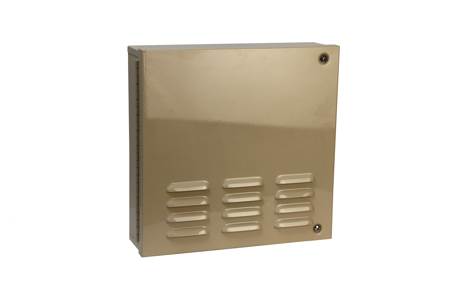 "#1010 Series Bell Box / Hinged   Overall dimensions 14 x 14 x 4"" 18 ga electro—galvanized steel Individual weight 16 lbs Master carton 16 x 16 x 9"" Gloss beige powder coating  With 12v 10"" burglar bell & plunger type Tamper switches installed / stainless screws included"
