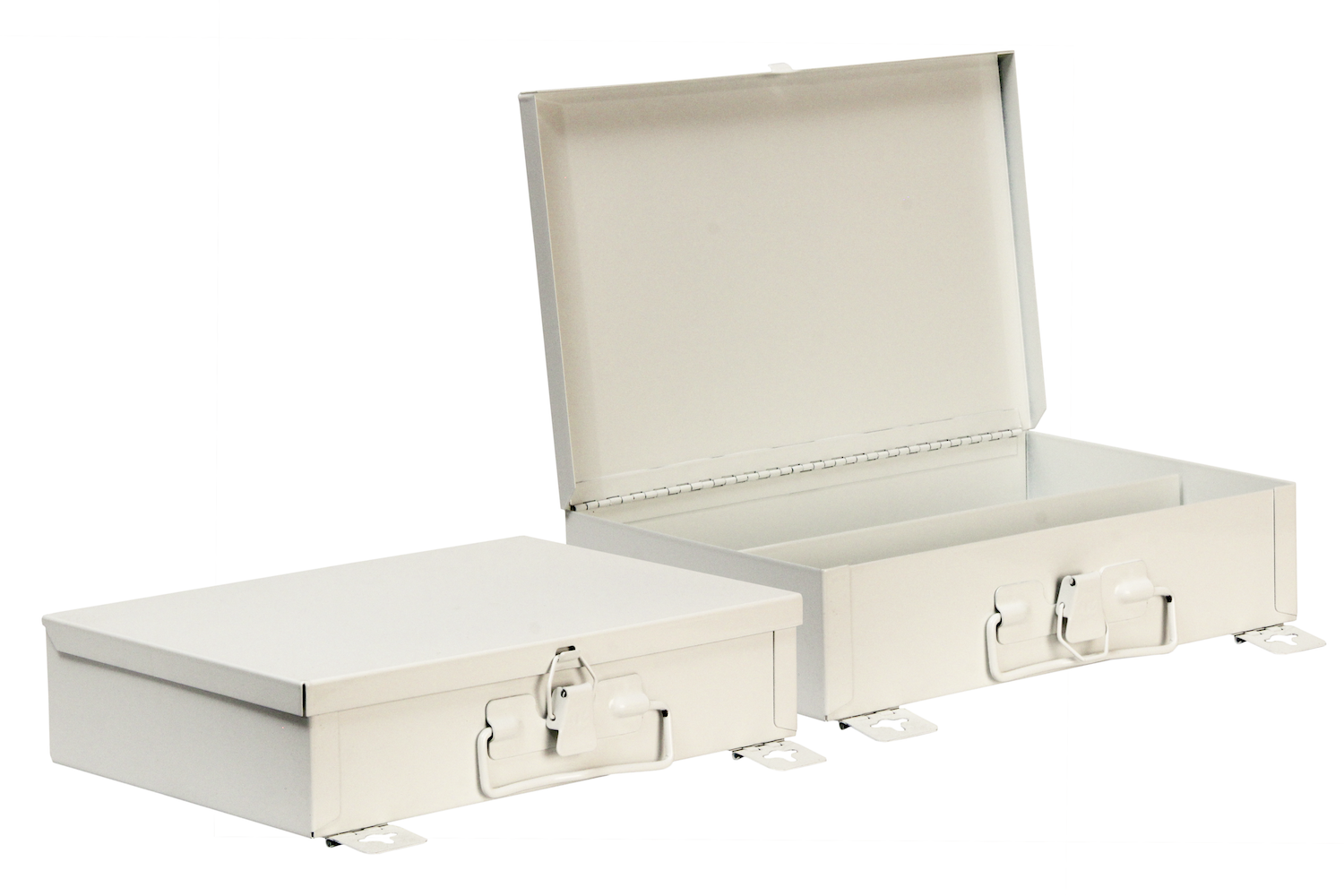"""#25 Unit First Aid Kit / Offset Partition    Inside dimensions 10 3/8 x 7 5/16 x 2 1/2"""" 22 ga steel / individual weight 2 lbs Shelf spacing top to bottom—2 3/4"""", 4 1/2"""" Master carton 12 per / 12 x 24 x 12"""" / 26 lbs Gloss white powder coating"""