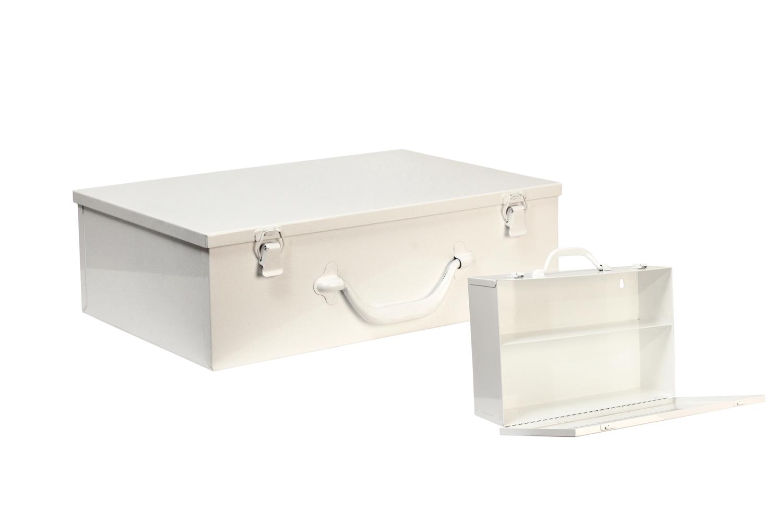 "#126 Unit First Aid Cabinet (2 Shelf) Hinge on Bottom / Swing-down Door   Inside dimensions 14 7/8 x 10 x 4 5/8"" Top shelf spacing 4 1/2"" 20/22 ga steel / individual weight 8 lbs Individual carton Max QTY per 40 x 48"" pallet—108 Gloss white powder coating"