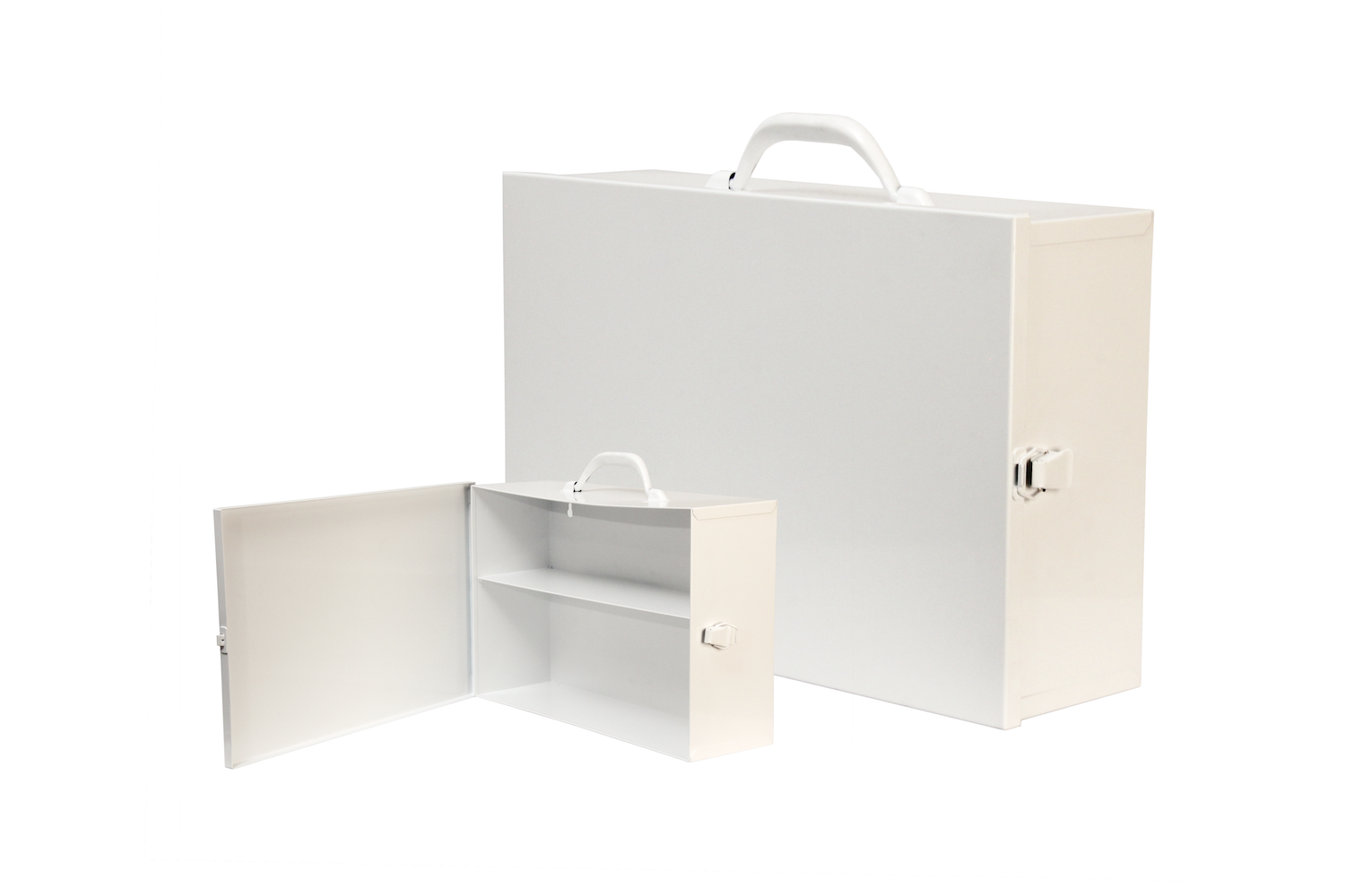 """#126 Unit First Aid Cabinet (2 Shelf) Hinge on Left / Swing-out Door   Inside dimensions 14 7/8 x 10 x 4 5/8"""" Top shelf spacing 4 1/2"""" 20/22 ga steel / individual weight 8 lbs Individual carton Max QTY per 40 x 48"""" pallet—108 Gloss white powder coating"""