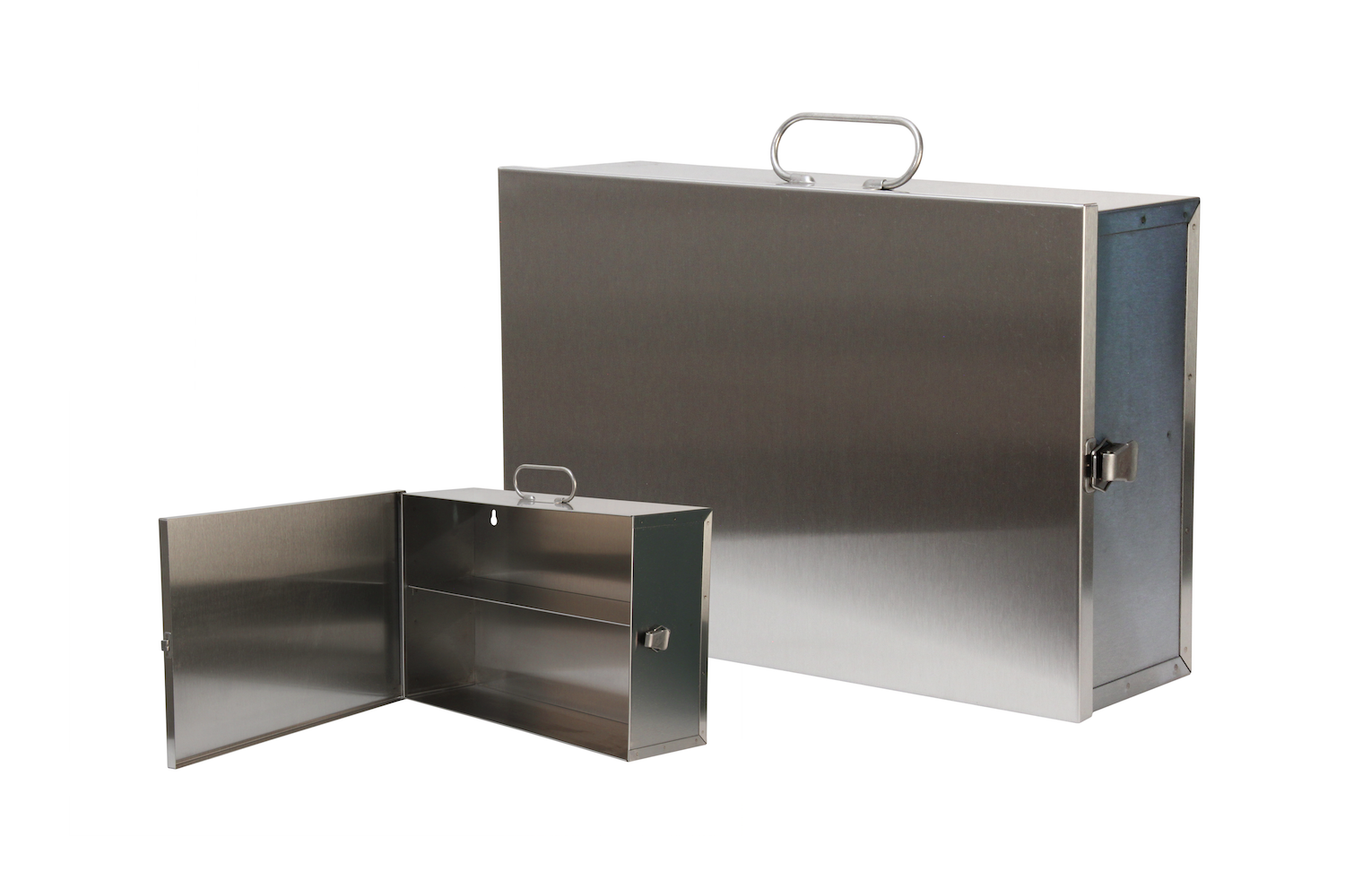 """#126 Unit First Aid Cabinet / Stainless (2 Shelf) Hinge on Left / Swing-out Door   Inside dimensions 14 7/8 x 10 x 4 5/8"""" Top shelf spacing 4 1/2"""" 22 ga stainless steel / individual weight 8 lbs Individual carton Max QTY per 40 x 48"""" pallet—108"""