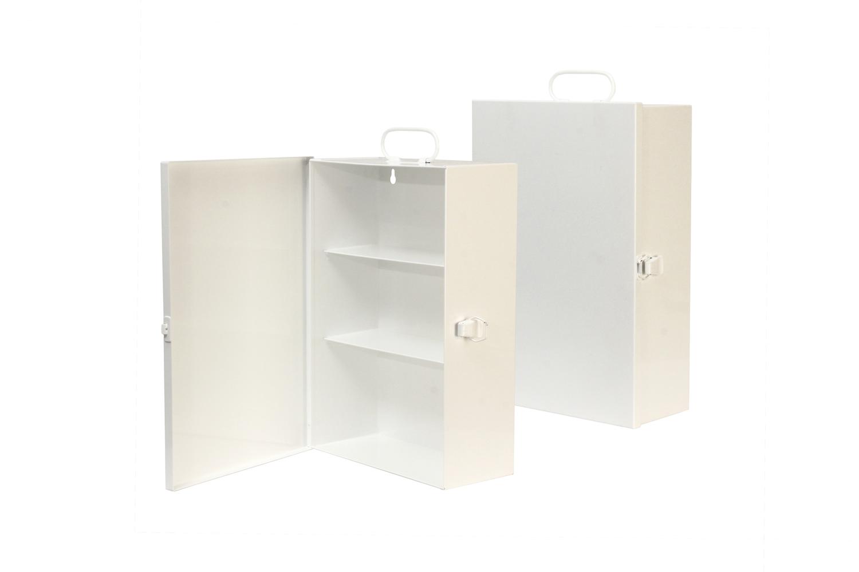 "#131 First Aid Cabinet / Mini-Three (3 Shelf)   Inside dimensions 10 1/4 x 14 3/4 x 5 1/2"" Shelf spacing top to bottom 4 1/2""—4 1/2""—5 3/4"" 20 ga steel / individual weight 8 lbs Individual carton Max QTY per 40 x 48"" pallet—96 Gloss white powder coating"