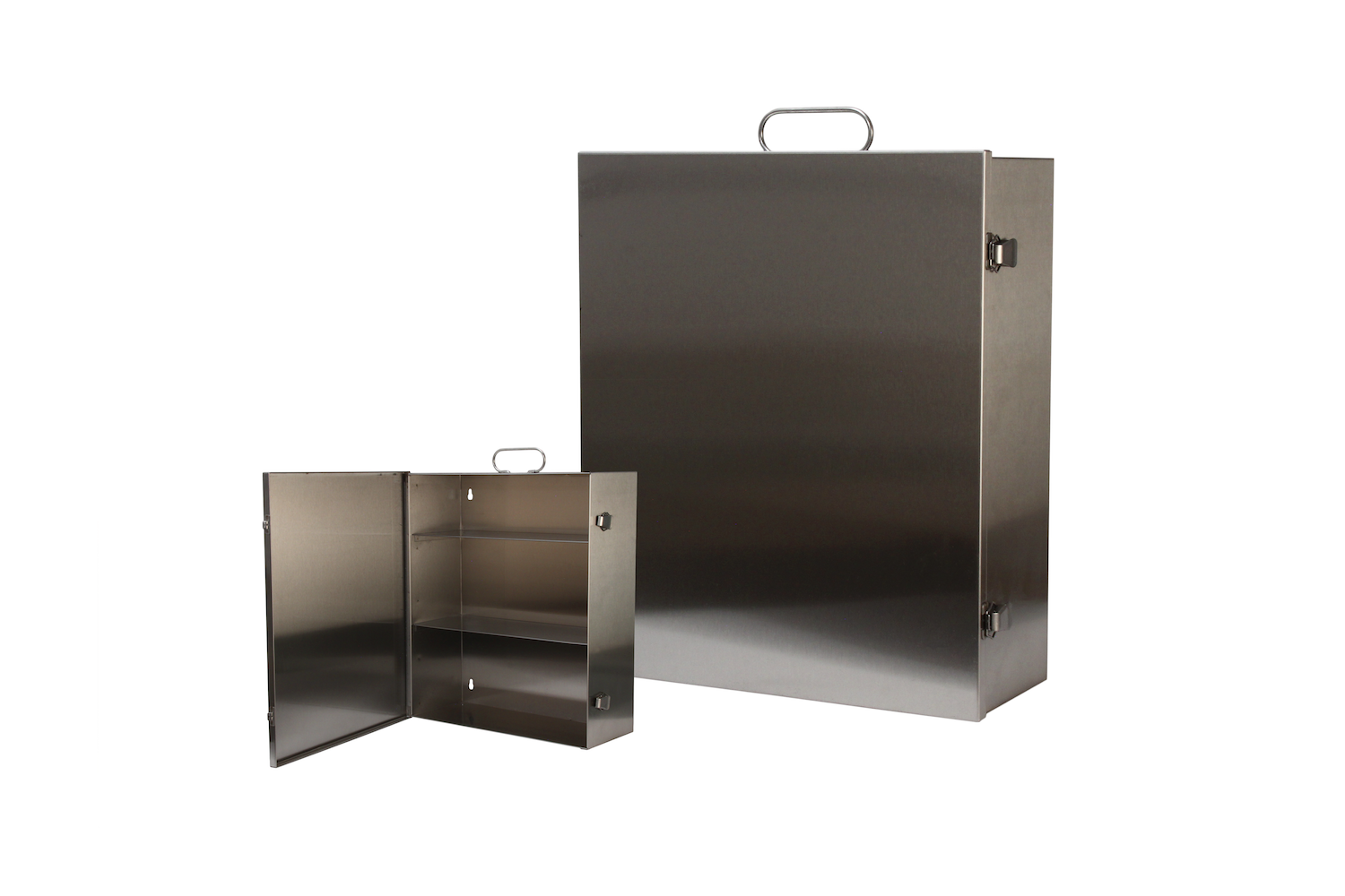 """#151 First Aid Cabinet (3 Shelf) / Stainless   Inside dimensions 13 1/2 x 16 x 5 1/2"""" Shelf spacing top to bottom 4""""—6""""—6 1/8"""" 22 ga stainless steel / individual weight 10 1/2 lbs Individual carton Max QTY per 40 x 48"""" pallet—66"""