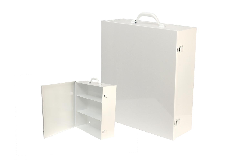 "#180 First Aid Cabinet (3 Shelf)   Inside dimensions 15 x 17 x 5 1/2"" Shelf spacing top to bottom 5""—6""—6"" 20/22 ga steel / individual weight 10 1/2 lbs Individual carton Max QTY per 40 x 48"" pallet—60 Gloss white powder coating"