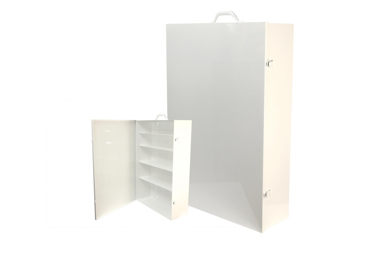 "#181 First Aid Cabinet (5 Shelf)    Inside dimensions 19 x 27 3/4 x 6 1/2"" Shelf spacing top to bottom 4""—4 1/4""—5 3/4""—5 3/4""—8"" Individual weight 27 lbs 20 ga steel / individual carton Max QTY per 40 x 48"" pallet—16 Gloss white powder coating"