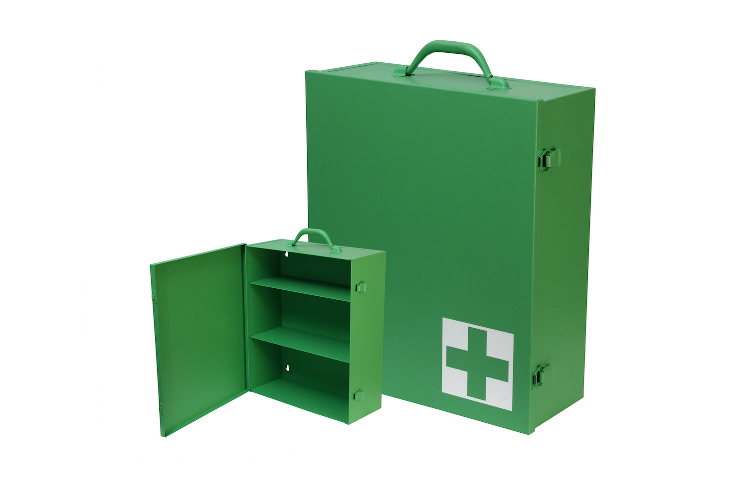"""#151 First Aid Cabinet (3 Shelf) / CUSTOM COLOR   Inside dimensions 13 1/2 x 16 x 5 1/2"""" Shelf spacing top to bottom 4""""—6""""—6 1/8"""" Individual weight 10 1/2 lbs Individual carton Max QTY per 40 x 48"""" pallet—66"""