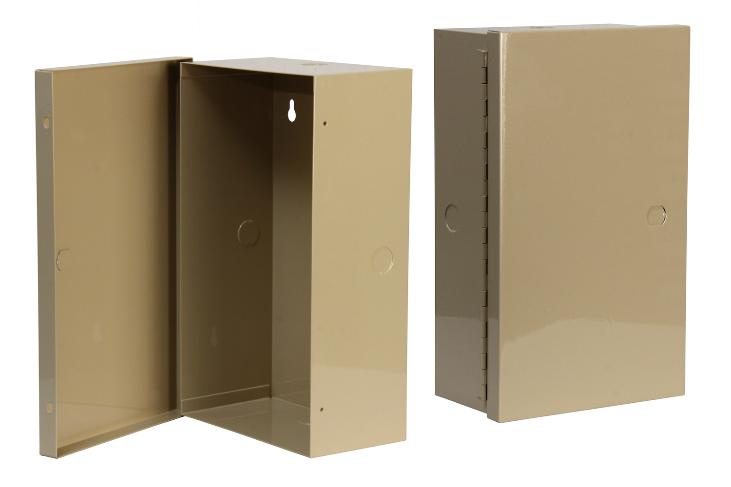 "#UC100-1 Utility Cabinet    Overall dimensions 7 x 12 x 4"" 20 ga steel / individual weight 2 lbs Gloss beige powder coating"