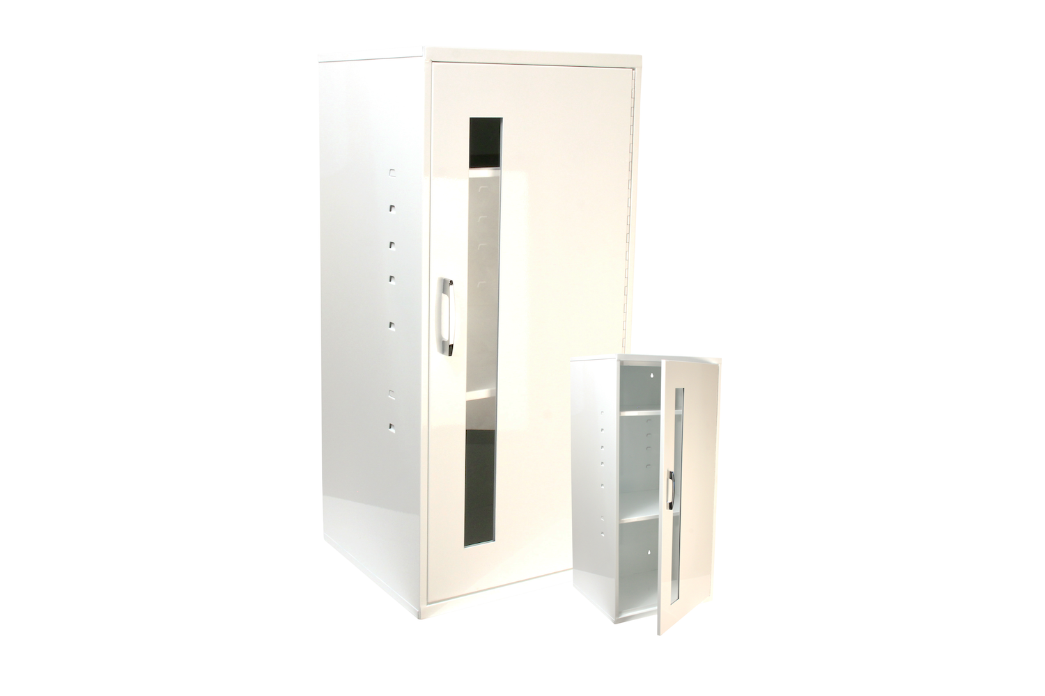 """Universal Storage Cabinet   Inside dimensions 13 3/4 x 30 x 12 7/8"""" 20 ga steel / individual weight 27 lbs Individual carton Maximum QTY per 40 x 48"""" pallet—22 Gloss white powder coating  Two shelves / window / pull handle included"""