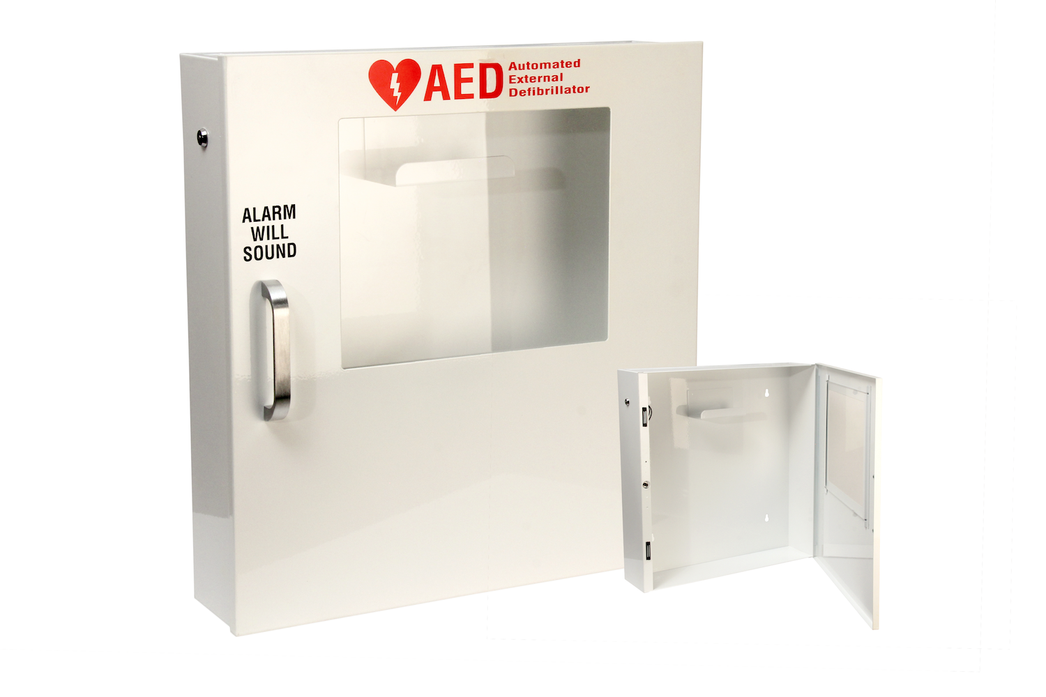 """#120 AED Alarm Cabinet   Outside dimensions 17 1/4 x 18 x 4 1/8"""" 20/22 ga steel / individual weight 12 lbs Acrylic window 8 x 10 x 1/8"""" Individual carton Max QTY per 40 x 48"""" pallet—40 Gloss white powder coating  Window / pull handle / alarm+battery included"""