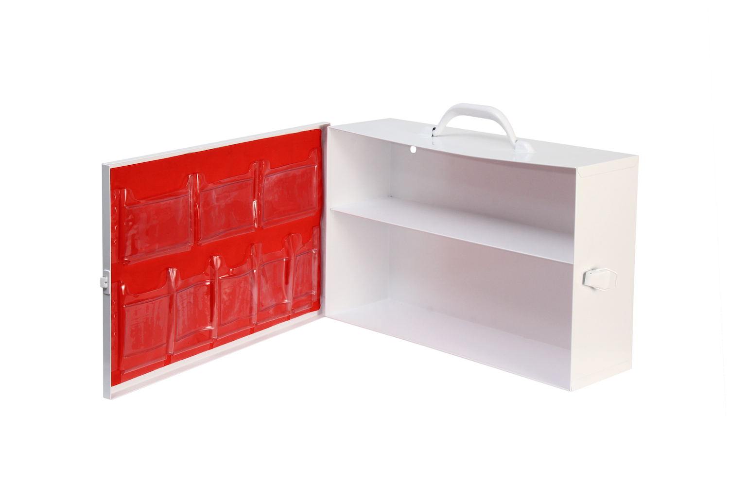 Door Pocket / 2 Shelf Cabinet / Red   2 rows / 8 pockets / No tape  Shown on #126 cabinet   Install optional