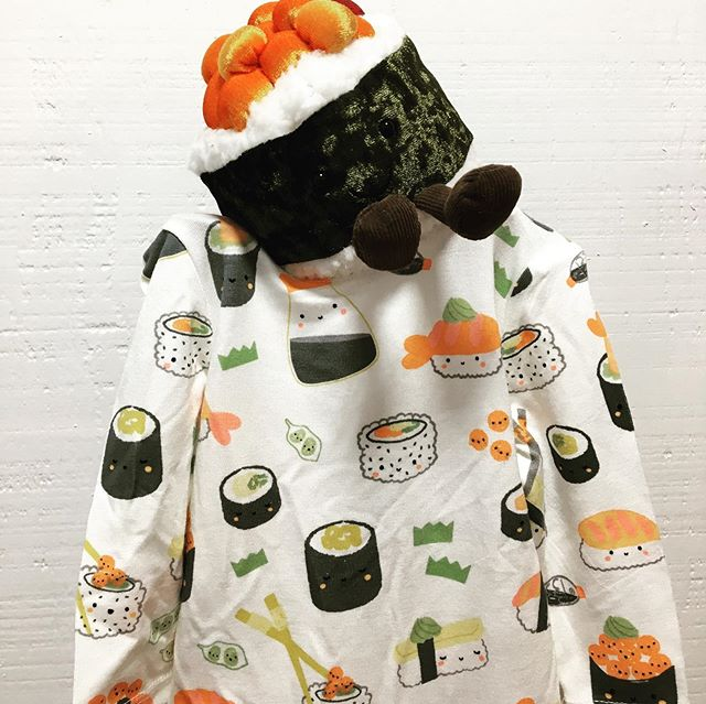 A little sushi for your little sushi.  @jellycat_official sushi stuffies and Angel Dear baby sushi onesie