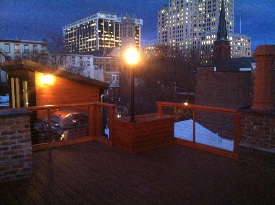 Custom rooftop deck in downtown Albany. What a view!