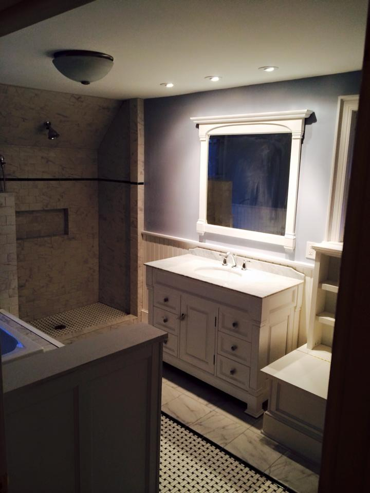 New master bathroom built over an old stairwell.