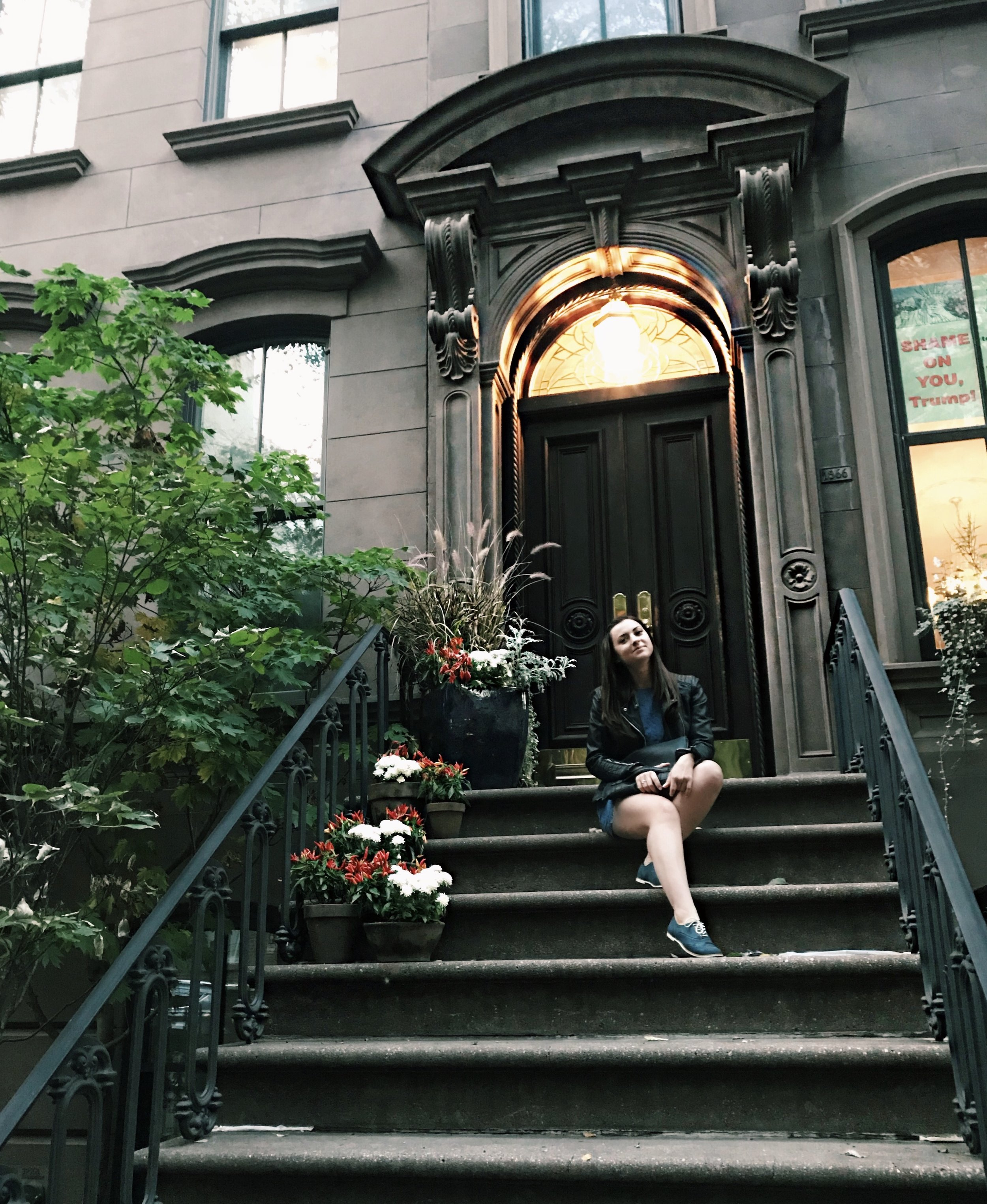 At Sex and The City apartment.