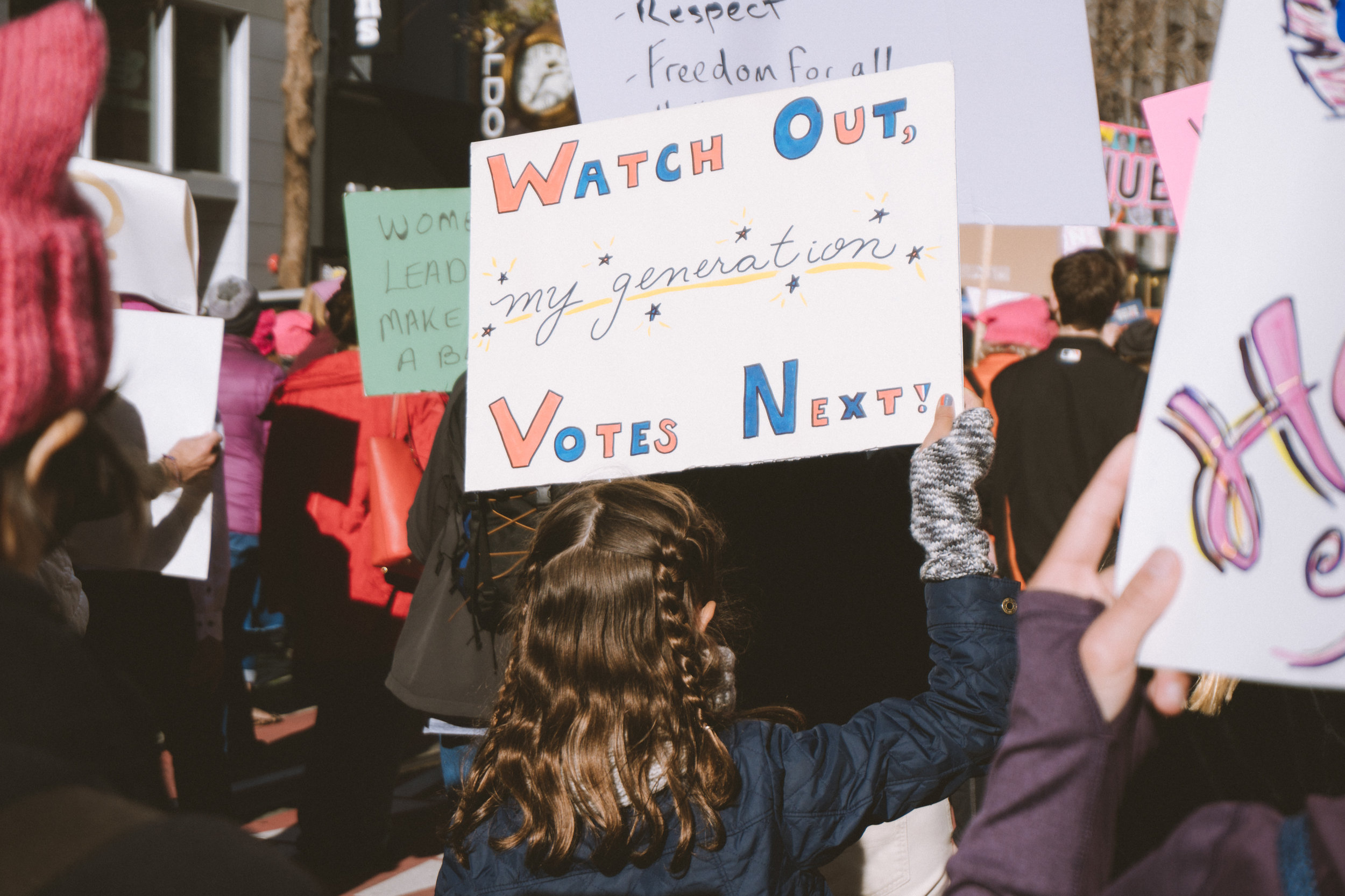 Women's March SF 2018  We should not be alternate realities to what is happening in the world. We should not be alternate realities to what is happening in our friends' lives and in our families—in all of our relationships. Just show up. Show up when you don't know what to say. Show up when you don't know what to do. Show up when you don't understand, but want to. Just show up. When you do it together. When you're not alone. That is when fear dies. That is when love wins.  HUMAN TOGETHER