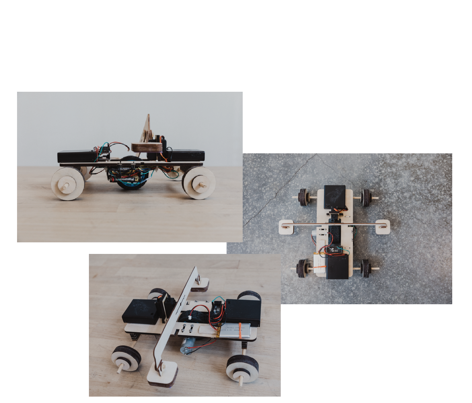 """Final Prototype - In this final iteration, we used a 1/4"""" thick, rectangular chassis instead of a 1/8"""" thick, """"T"""" chassis, for better stability and weight distribution. We opted for laser-cut plywood wheels as not only an aesthetic decision over the soldering wire containers, but also a durability decision over the ping pong balls, also opting to add bearings. We reduced the horizontal and vertical play on the stoppers to get the maximum amount of surface area contact for maximum drag. We also added better-positioned slots for cable management below the chassis, a housing support to keep the servo in place, and slots to flushly add power switches. For the bluetooth controller, we added two speed modes for flexibility when maneuvering through different obstacles (i.e. slalum vs. incline)."""